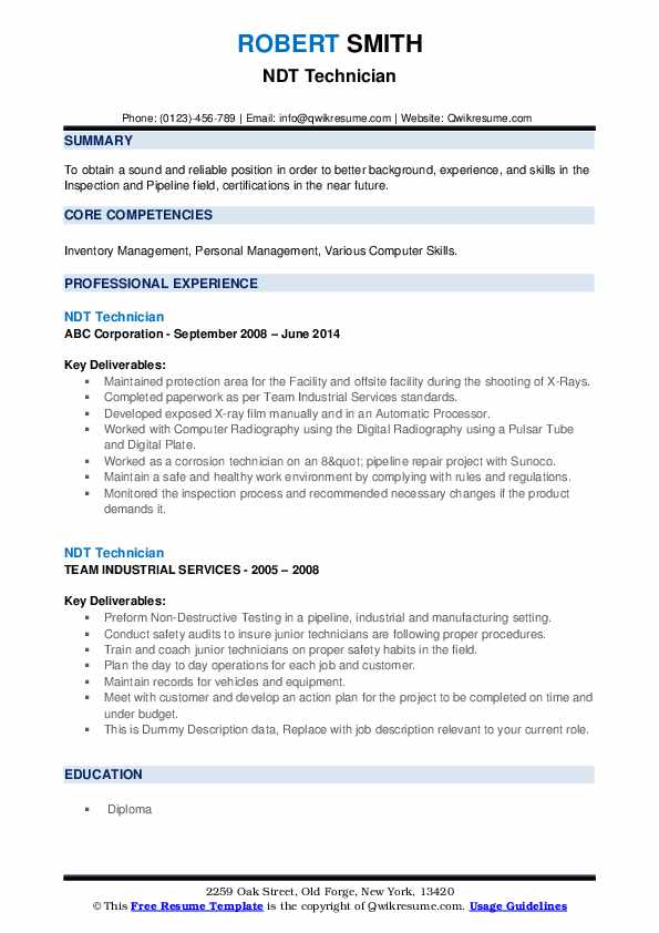 NDT Technician Resume example