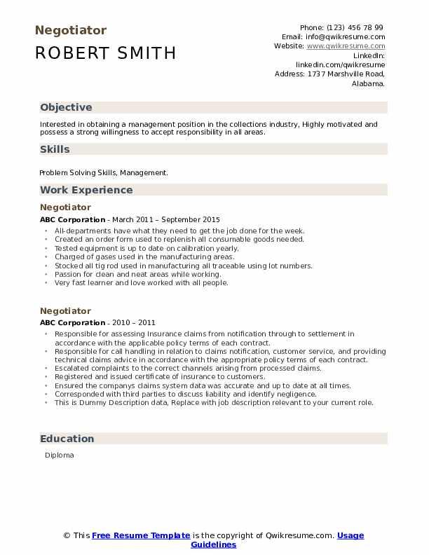Negotiator Resume example