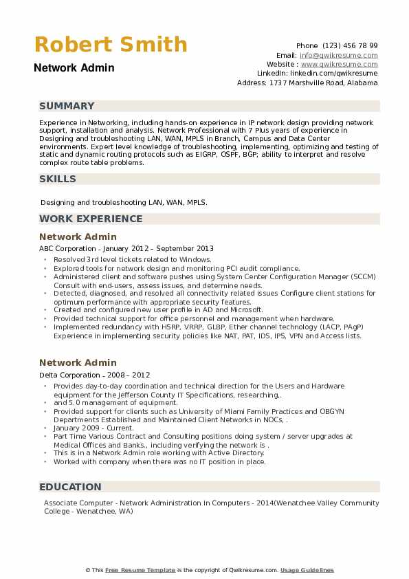 Network Admin Resume example