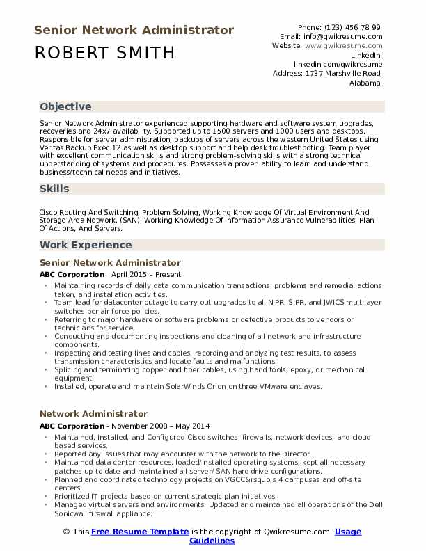 Senior Network Administrator Resume Template