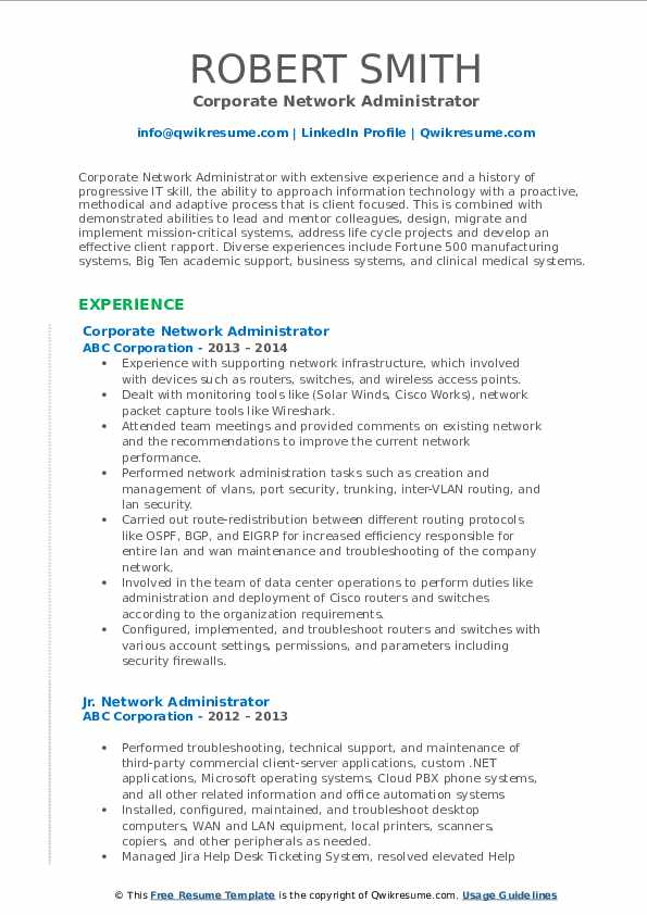 Corporate Network Administrator Resume Template