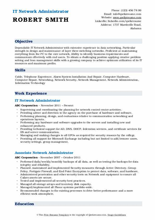 IT Network Administrator Resume Example