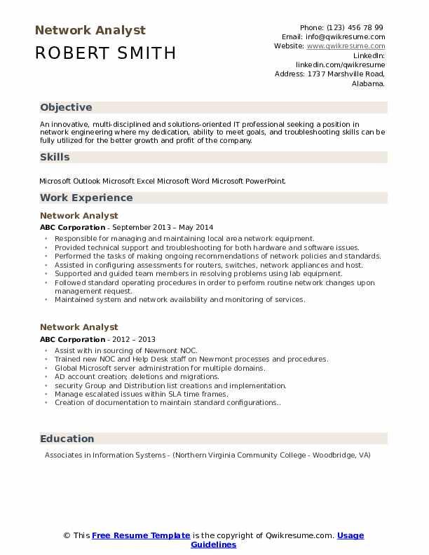 Network Analyst Resume Sample