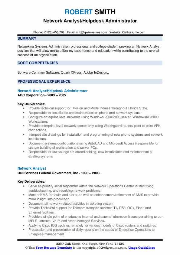Network Analyst/Helpdesk Administrator Resume Template