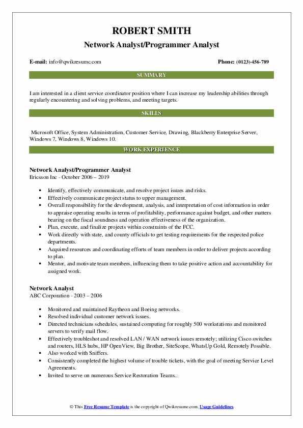 Network Analyst/Programmer Analyst Resume Example
