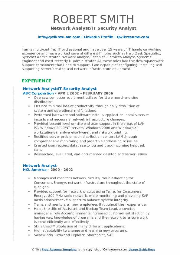 Network Analyst/IT Security Analyst Resume Sample