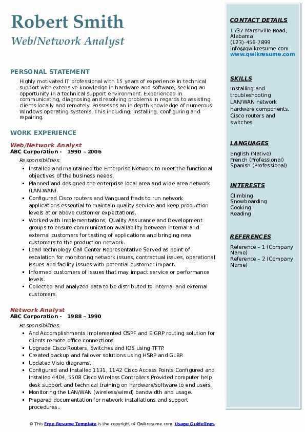 Web/Network Analyst Resume Format