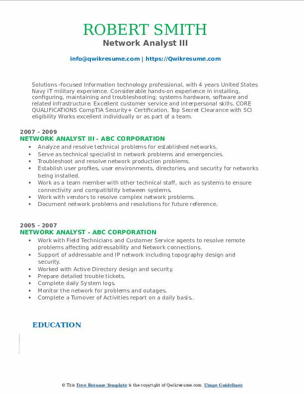 Network Analyst III Resume Sample