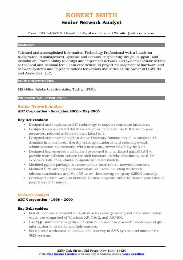 Senior Network Analyst Resume Format