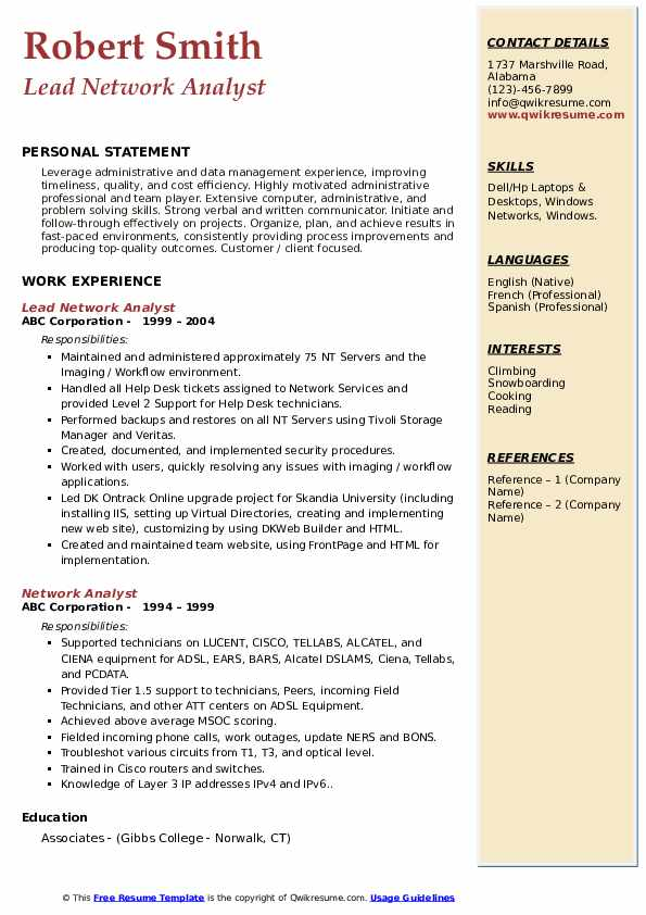 Lead Network Analyst Resume Example