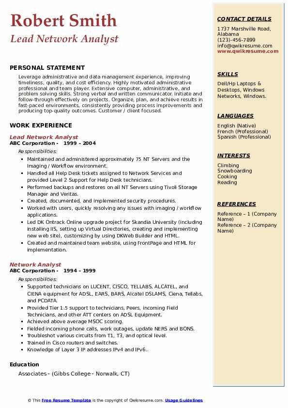 Lead Network Analyst Resume Sample