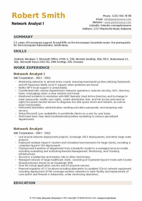 Network Analyst I Resume Template