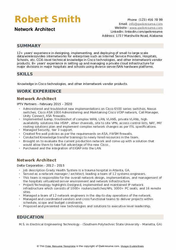 Network Architect Resume example