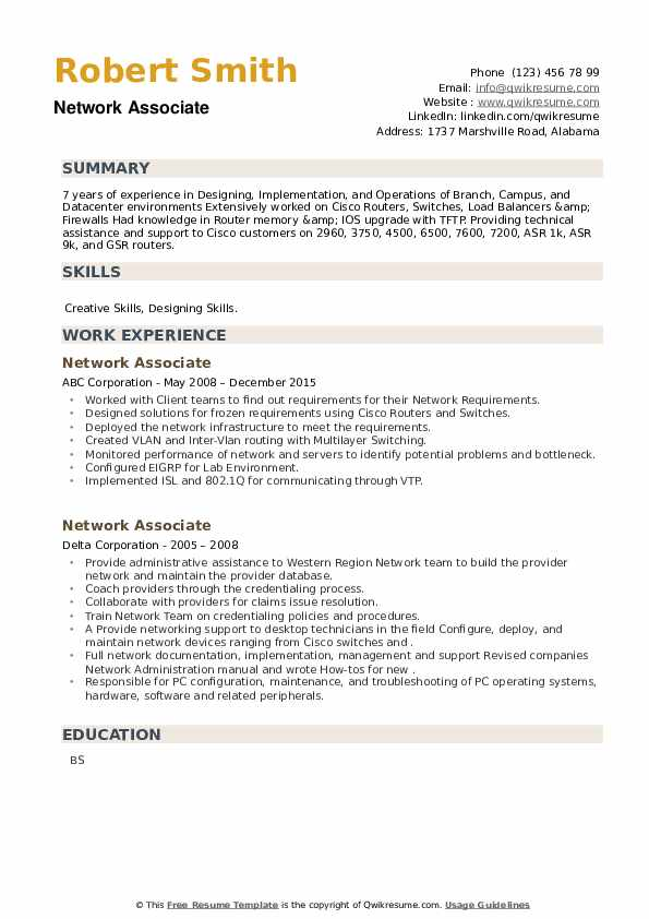 Network Associate Resume example