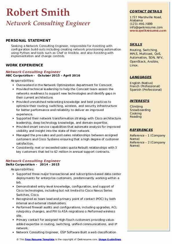 network consulting engineer resume samples  qwikresume