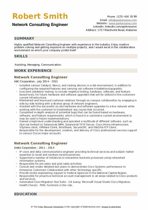 Network Consulting Engineer Resume example