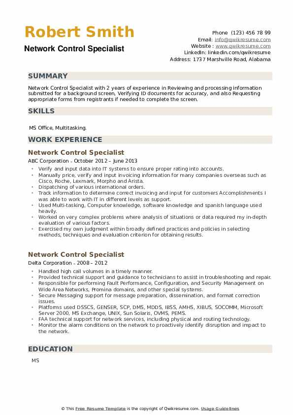 Network Control Specialist Resume example