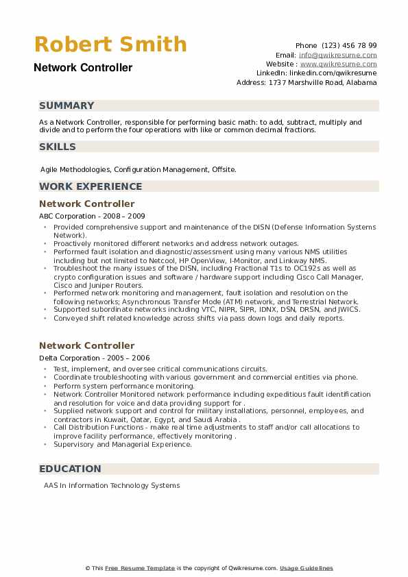 Network Controller Resume example