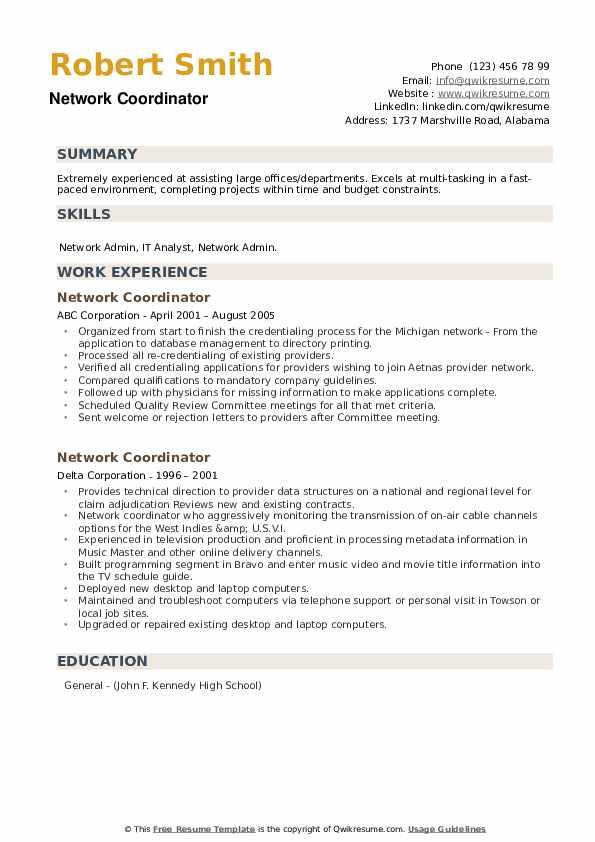 Network Coordinator Resume example