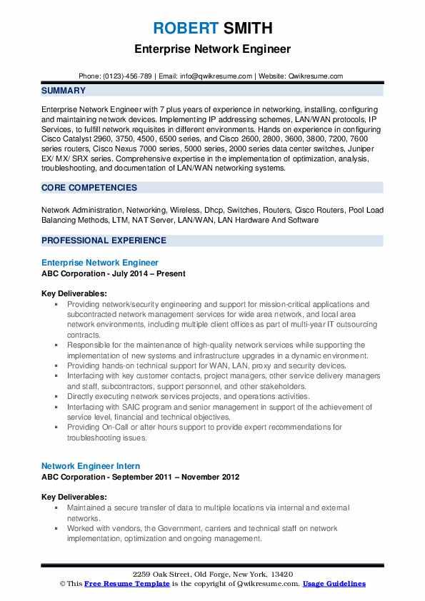 network engineer resume samples