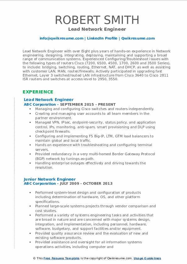 Lead Network Engineer Resume Template