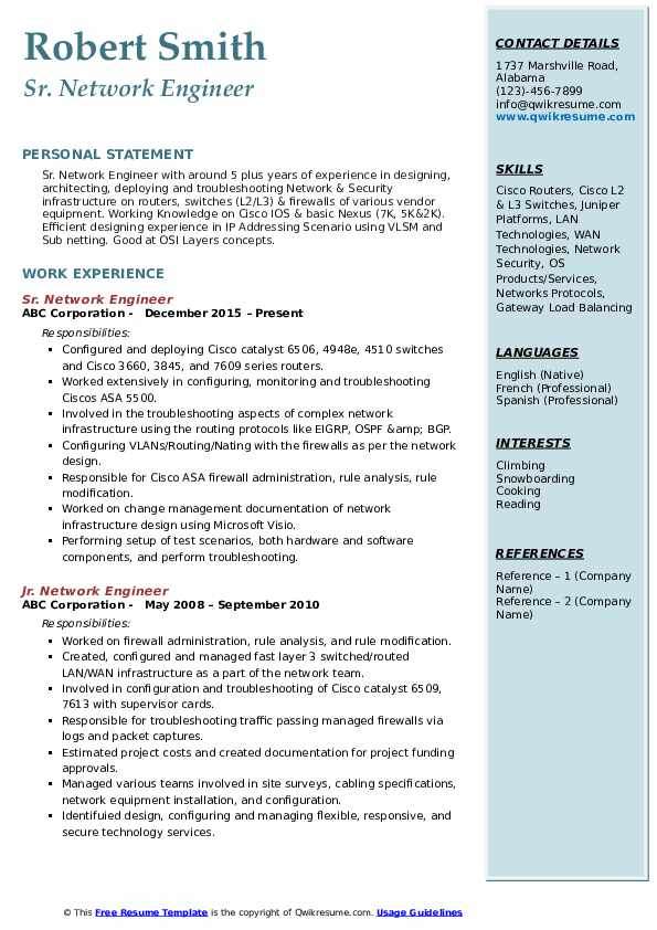 Network Engineer Resume Samples | QwikResume
