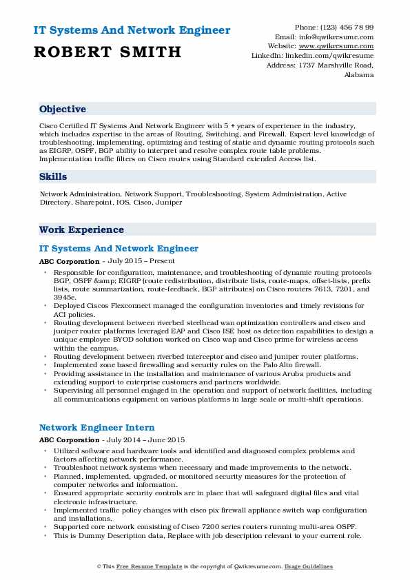 IT Systems And Network Engineer Resume Template