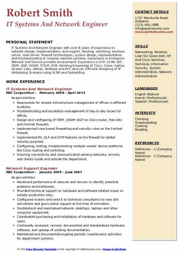 IT Systems And Network Engineer Resume Model