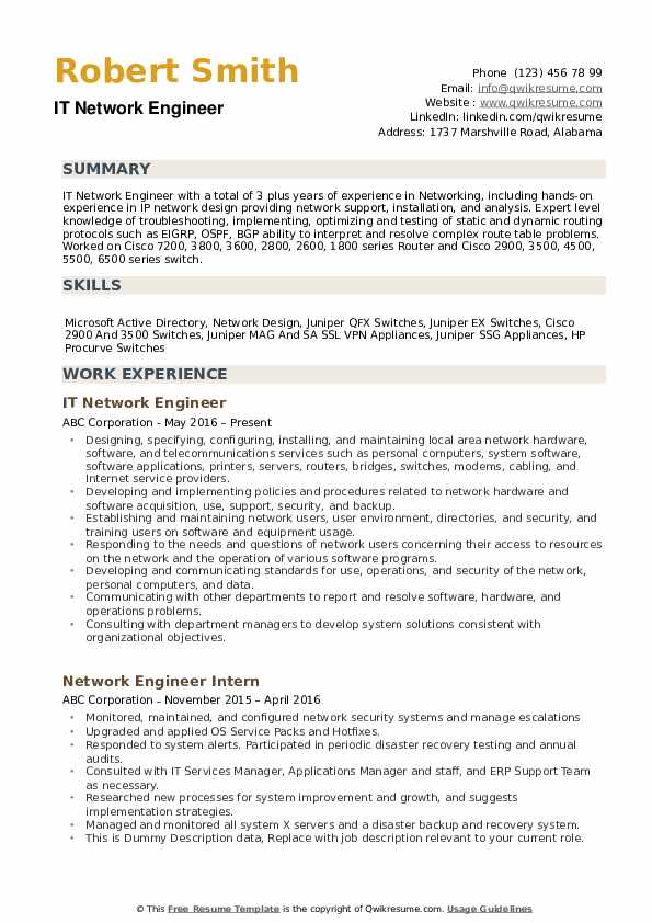 network engineer resume samples