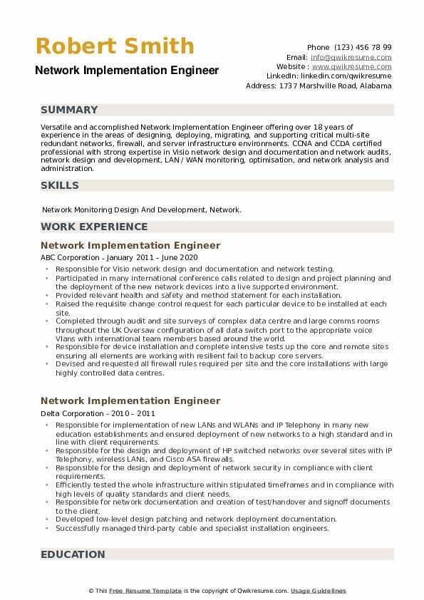 Network Implementation Engineer Resume example