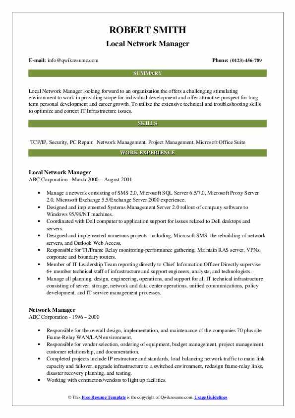 Local Network Manager Resume Sample