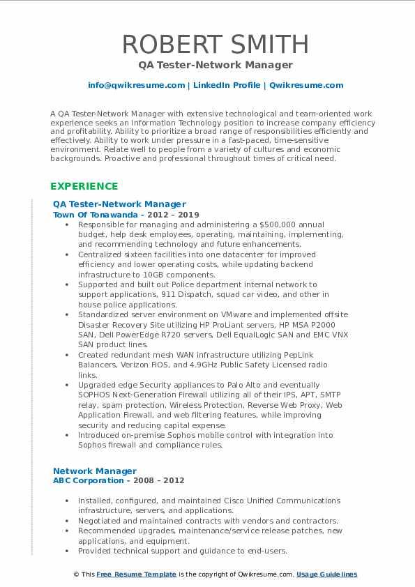 QA Tester-Network Manager Resume Sample
