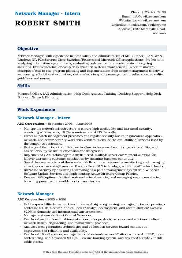 Network Manager - Intern Resume Model