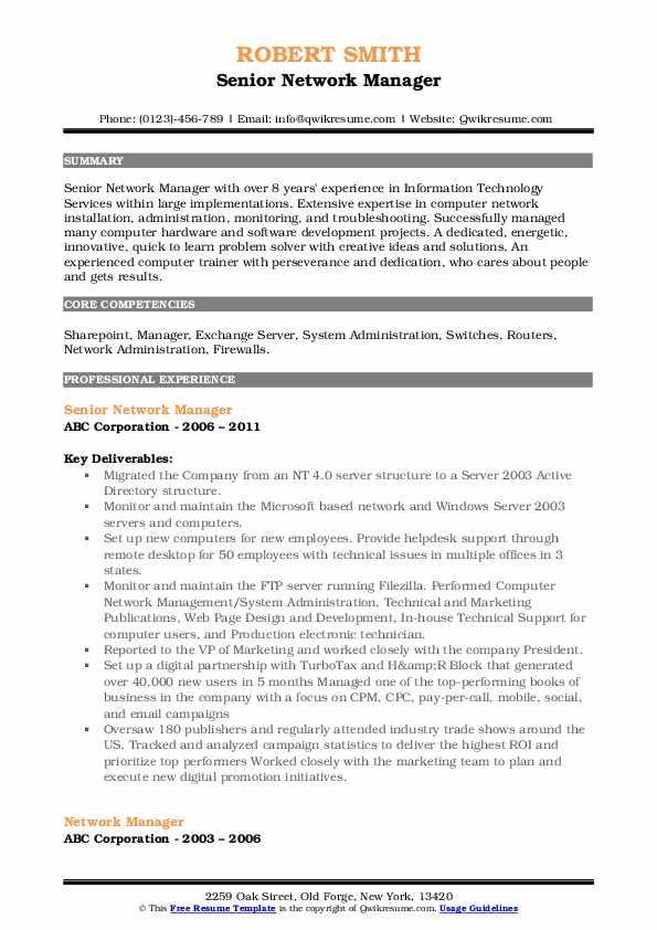 Senior Network Manager Resume Example