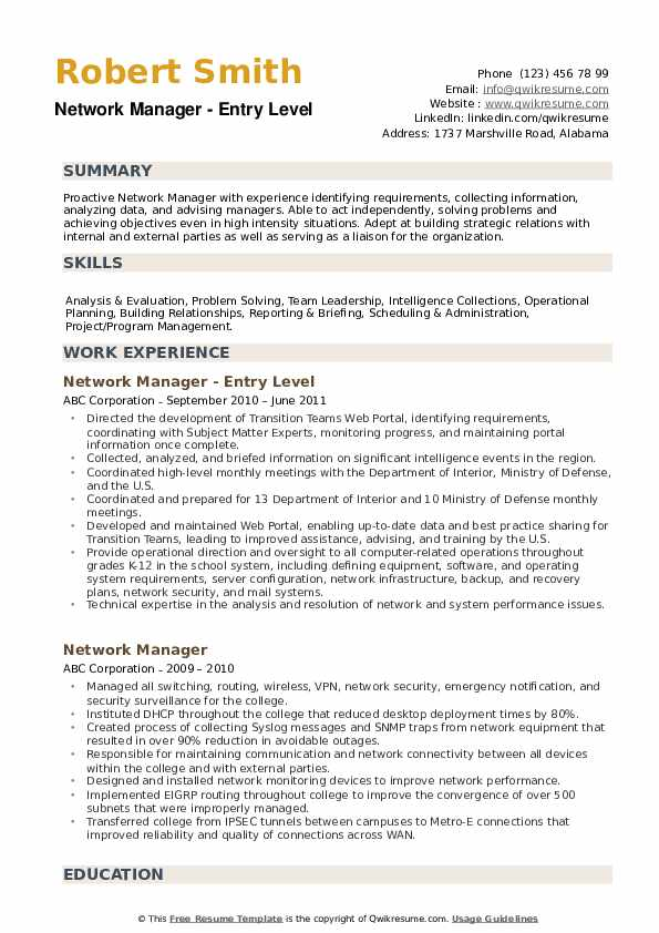 Network Manager Resume example