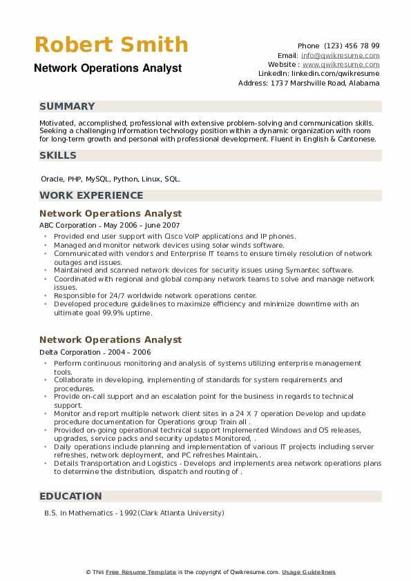 Network Operations Analyst Resume example