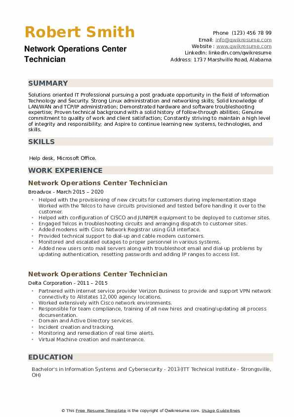 Network Operations Center Technician Resume example