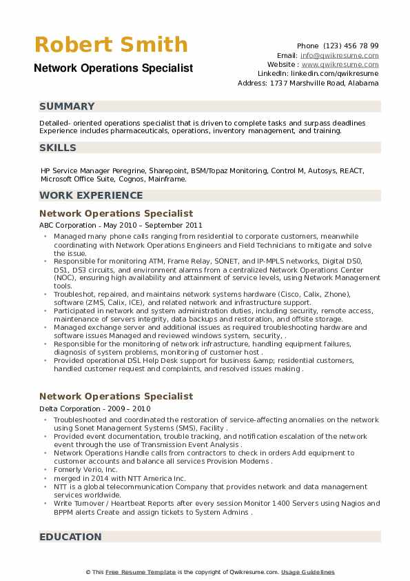 Network Operations Specialist Resume example