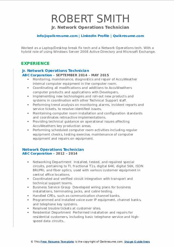 network operations technician resume samples