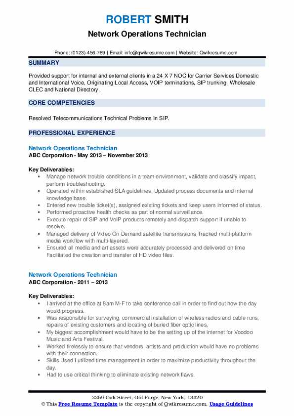 Network Operations Technician Resume example