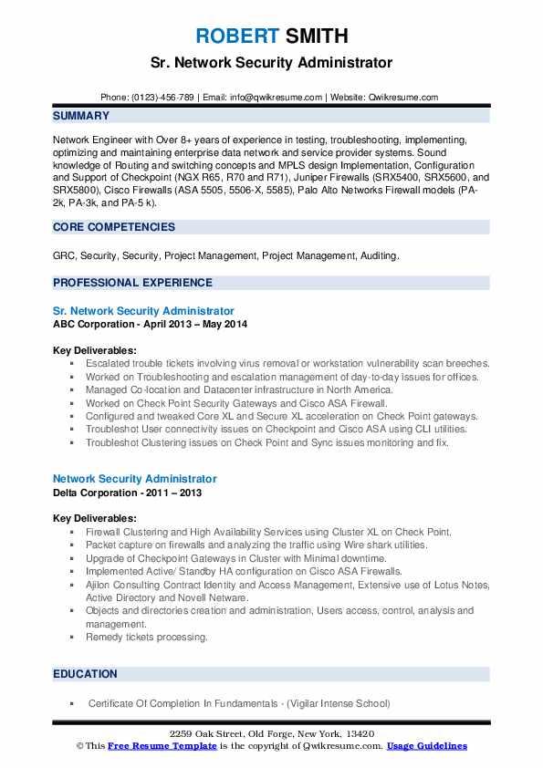 Network Security Administrator Resume Samples Qwikresume