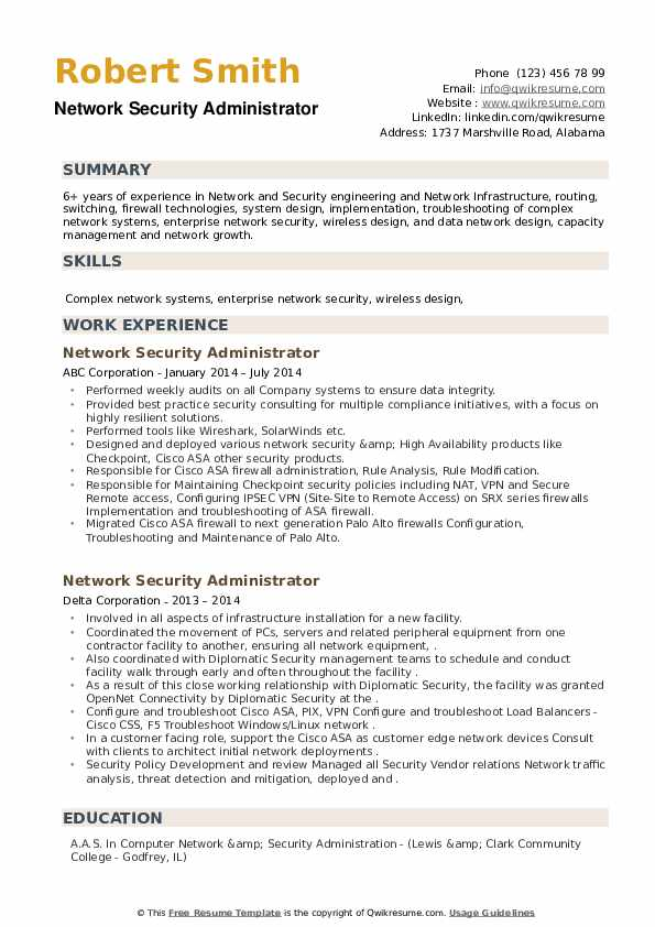 Network Security Administrator Resume example