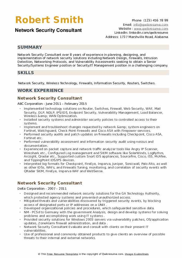 Network Security Consultant Resume example