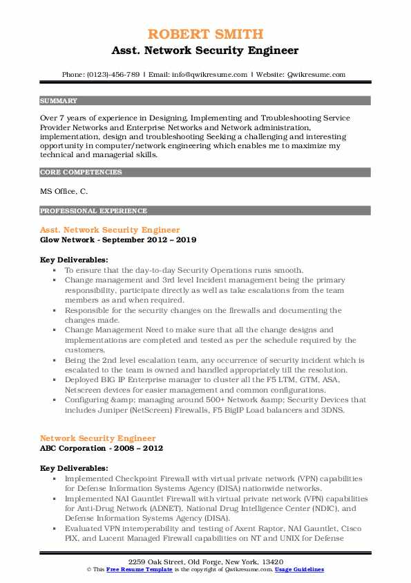 Asst. Network Security Engineer Resume Format