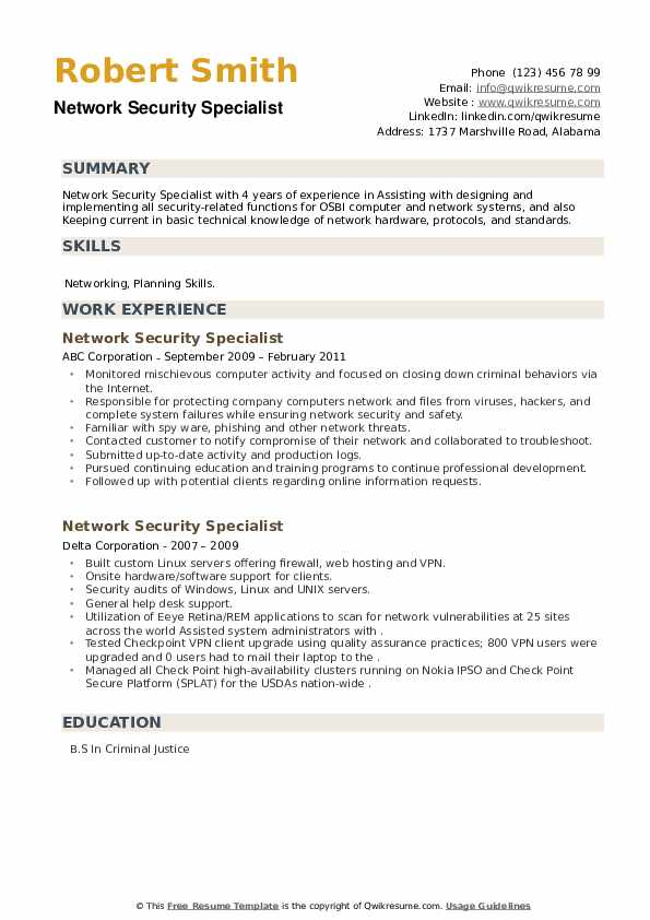 Network Security Specialist Resume example