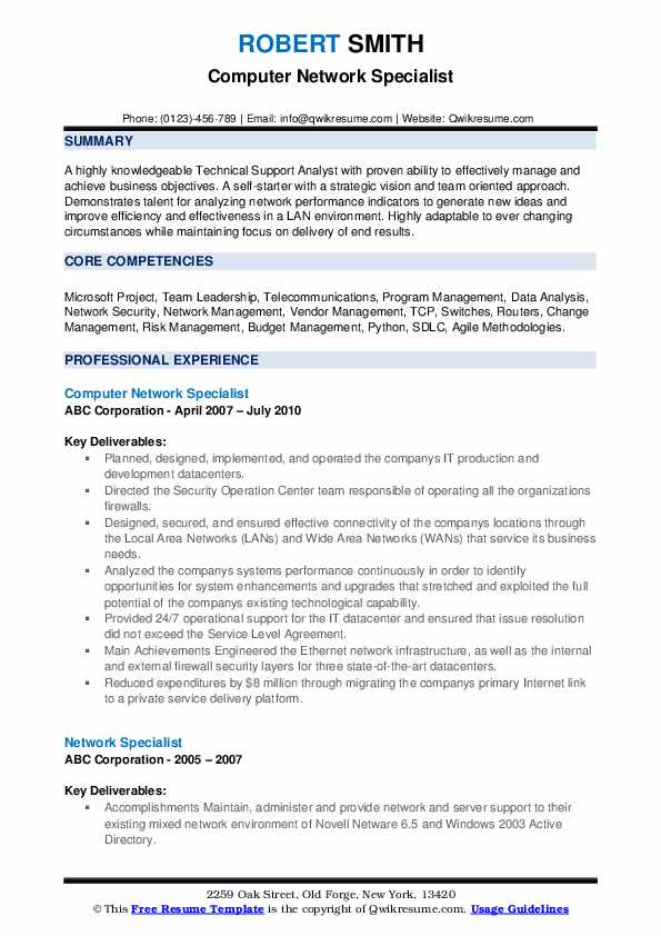 Computer Network Specialist Resume Sample