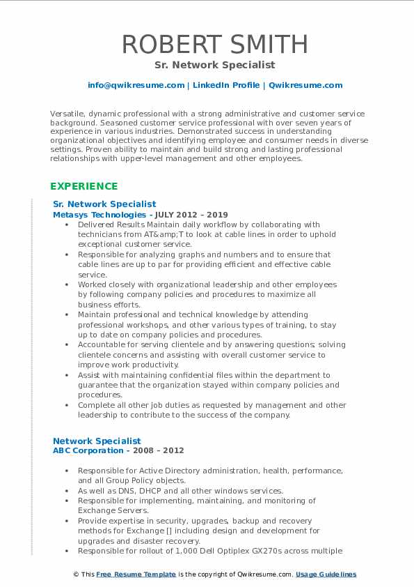 Sr. Network Specialist Resume Example