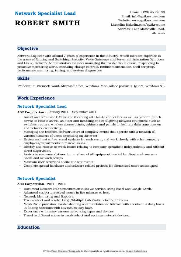 Network Specialist Lead Resume Example