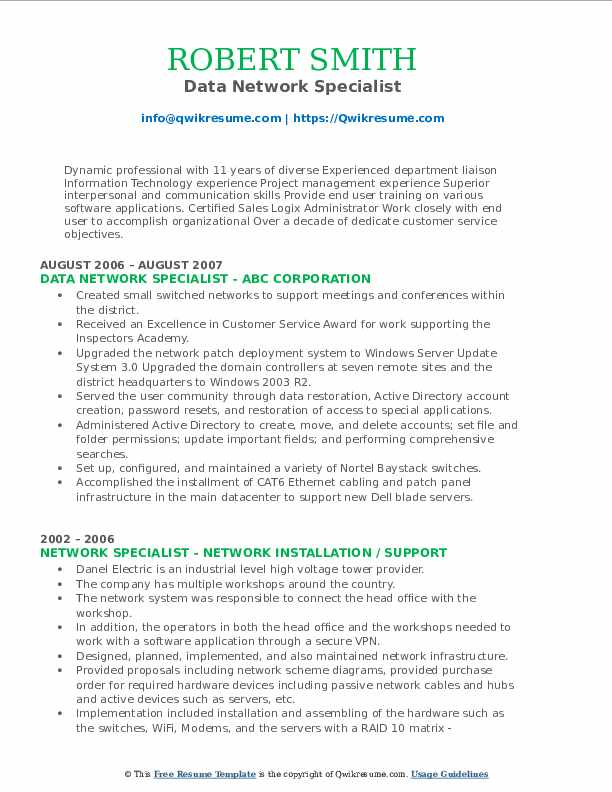 Data Network Specialist Resume Format