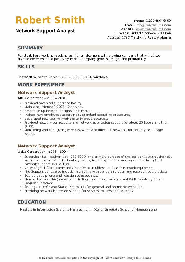 Network Support Analyst Resume example